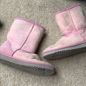 UGG classic short pink leather sheepskin boots